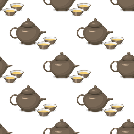 Kettle teapot drink hot breakfast kitchen utensil seamless pattern tea pot with two cups vector illustration.