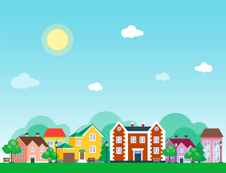 City outdoor day landscape house and street buildings outdoor cityspace disign vector illustration modern flat background Stock fotó - 88081953