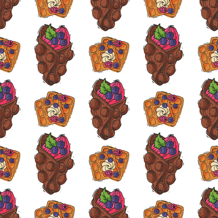 Wafer cookies waffle cakes pastry cookie seamless pattern biscuit delicious snack cream dessert crispy bakery food vector illustration