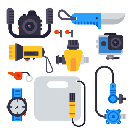 Conjunto de elementos planos para la pesca submarina submarina de buceo equipo de buceo vector profesional cazador de herramientas.