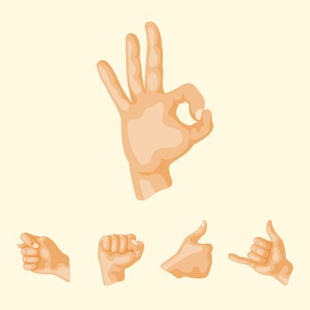 Hands deaf-mute different gestures human arm people communication message vector illustration.