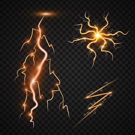 デザイン雷嵐のための透明性と電力エネルギー サンダー ボルト現実的な雷魔法と明るい照明効果ベクトル図です。自然の雷ボルト ストライク現実