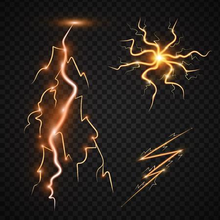 디자인을위한 투명도와 에너지 에너지 벼 락 현실적인 lightnings 천둥 폭풍 마법과 밝은 조명 효과 벡터 일러스트 레이 션. 자연 번개 폭풍 파업 현실적 일러스트