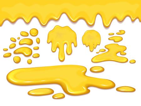 オレンジの蜂蜜滴と黄色の飛沫のセット健康シロップ黄金の食品液体ドリップベクトルイラスト。