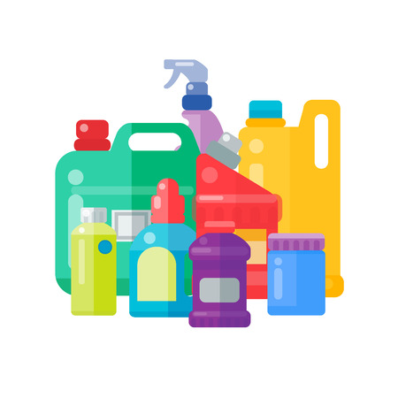 Bottles of household chemicals supplies cleaning housework plastic detergent liquid domestic fluid cleaner pack vector illustration.