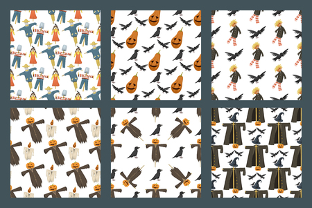 Verschillende poppen speelgoed karakter jurk en boerderij vogelverschrikker vodden-poppen vector illustratie. Mooie ondergoed kleine Halloween-naadloze de patroonachtergrond van de garderobe modelstijl.