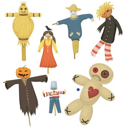 庭の醜いひどいファブリックかかし恐怖バグアブー人形 stiick とグッズのキャラクターにファーム縫いぐるみ人形のベクトル図からドレスします。