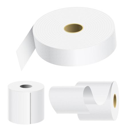 Realistisches Papierrollenspott stellte lokalisierte weiße Küchenverpackungstuchschablone der Vektorillustration 3d leere weiße ein Standard-Bild - 88081968