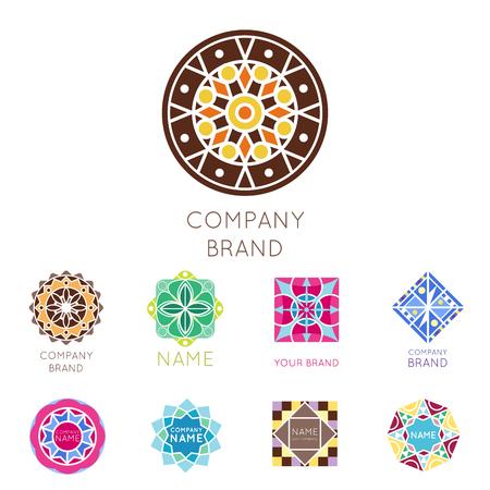 Abstract triangular polygonal shape kaleidoscope geometry company brand logo badge template circle decorative vector icon. Illustration