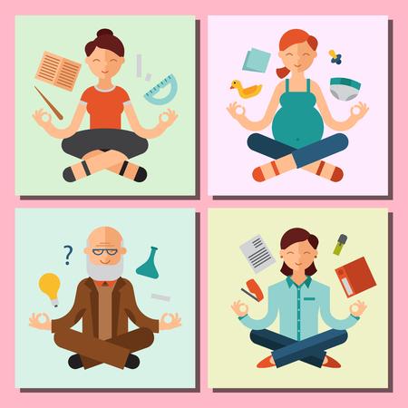 joga: Lotus position yoga pose meditation Illustration