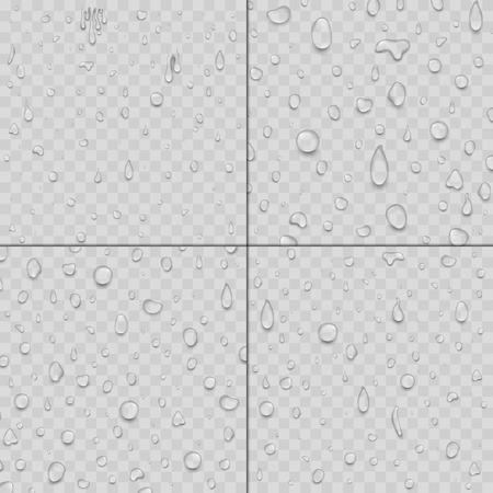 Realistic water drops liquid transparent raindrop splash background vector illustration Ilustração