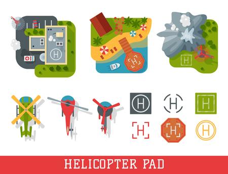 Helicopter pad landing ground landing area platform vector top view illustration. Helicopters landing pad aviation city platform. Takeoff vehicle tourism heliport sign. Ilustração