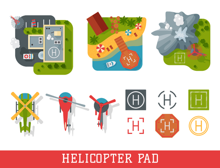 Helicopter pad landing ground landing area platform vector top view illustration. Helicopters landing pad aviation city platform. Takeoff vehicle tourism heliport sign. Illustration
