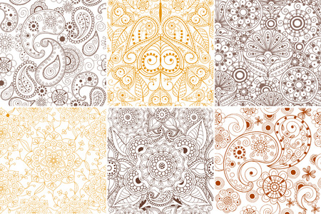Floral mehendi pattern ornament vector illustration hand drawn henna asian textile style india tribal paisley ornate. Ethnic ornamental lace vintage mandala abstract textile Stock Vector - 88088364