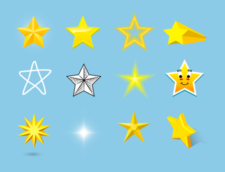 Different style shape silhouette shiny star icons collection vector illustration on blue background