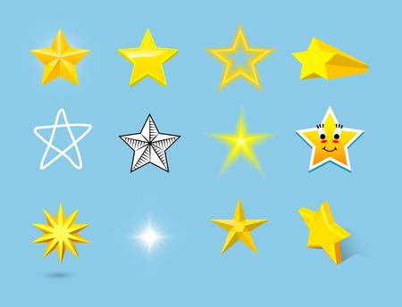 Verschillende stijl vorm silhouet glanzende ster iconen collectie vectorillustratie op blauwe achtergrond Stock Illustratie
