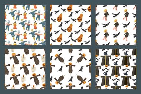 Verschillende poppen speelgoed karakter spel jurk naadloze patroon achtergrond boerderij vogelverschrikker vodden-poppen vectorillustratie Stock Illustratie