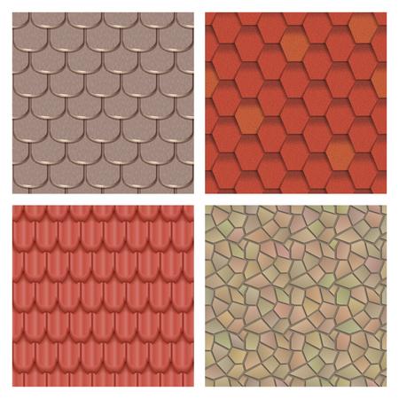古典的な質感とディテールの家のシームレスなパターン素材ベクトル イラストの屋根瓦  イラスト・ベクター素材