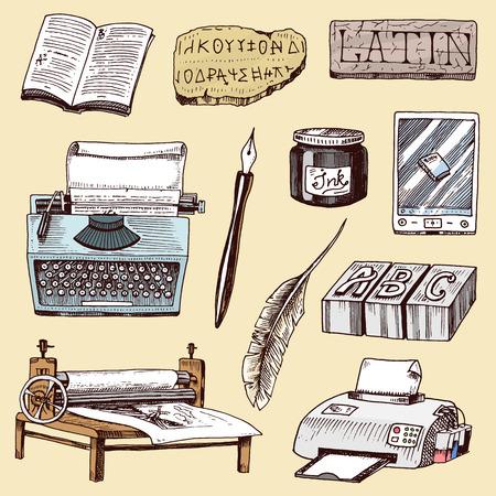 Livre typographie typographie histoire maison d'édition dessinés à la main machine à écrire travail industrie outils vector illustration. Banque d'images - 88157162