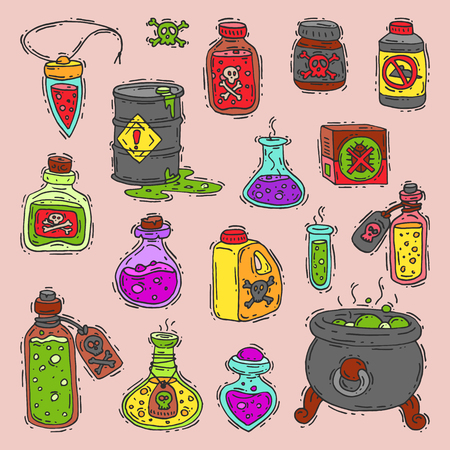 Bottle with potion game magic glass elixir poisoning toxic substance.