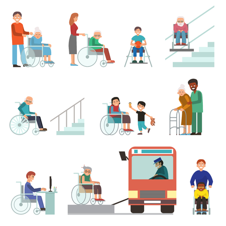 Disabled handicapped diverse people wheelchair invalid person help disability characters. Illustration