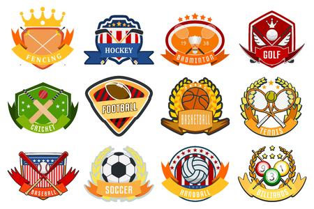 Sport game team logo play tournament label champion emblem league competition symbol vector illustration. Athletic university championship club.