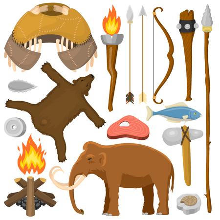 Stenen tijdperk inheemse oer historische jacht primitieve mensen wapen en huis leven symbolen vector illustratie. Stock Illustratie