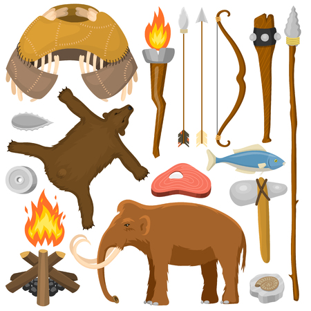Stone age aboriginal primeval historic hunting primitive people weapon and house life symbols vector illustration.