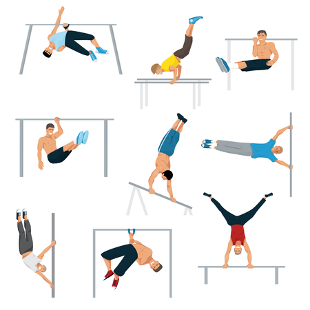 Horizontal bar chin-up strong athlete man gym exercise street workout tricks muscular fitness sport pulling up character vector illustration. Ilustração