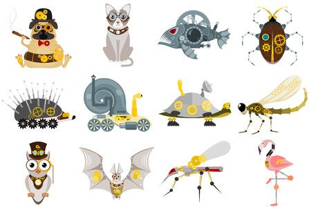 Stylized metal steampunk mechanic robots animals.