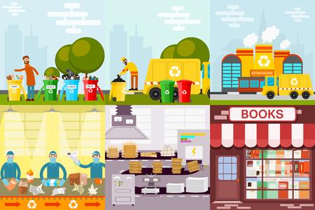 廃棄物リサイクル ゴミ プロセス。  イラスト・ベクター素材