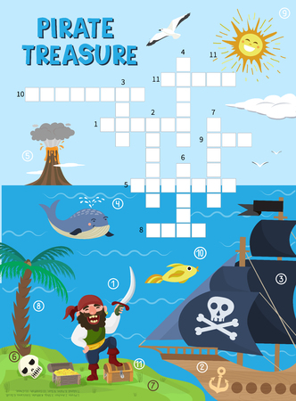 Pirate treasure adventure crossword puzzle. 向量圖像