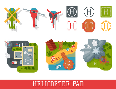 Helicopter pad landing ground landing area platform top view illustration.
