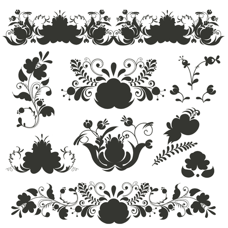 Russian ornaments art frames in gzhel style painted black silhouette flower traditional folk bloom branch pattern illustration. Illustration