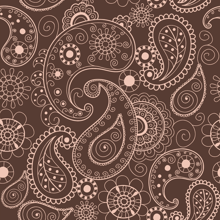 Floral mehendi pattern ornament illustration hand drawn henna asian textile style india tribal paisley ornate. 向量圖像