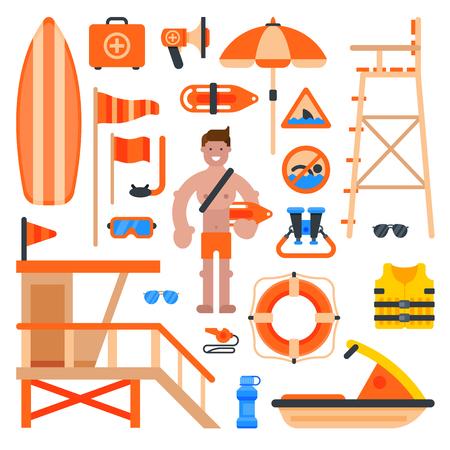 救助命の恩人ワーカー男ビーチ、救命サービス ライフガード ビーチを作り出します。