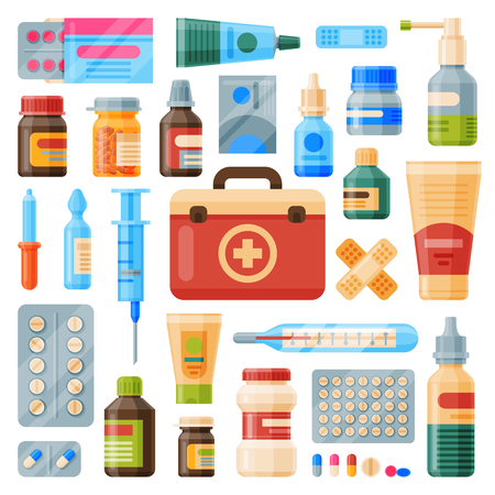 Medical instruments first-aid set outfit medicine chest and doctor tools flat medicament medication. Иллюстрация
