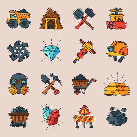 Miner brandstof productie van minerale apparatuur voor brandstof. Stock Illustratie