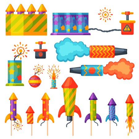 Fireworks pyrotechnics rocket and flapper birthday party gift celebrate vector illustration festival tools.