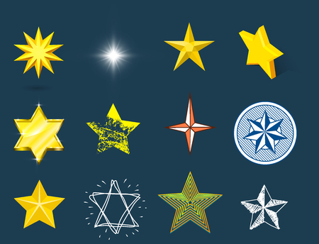 Different style shape silhouette shiny star icons.
