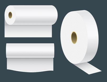 Realistische papierrol mock-up set geïsoleerde illustratie lege witte 3D-verpakking keuken handdoek, wc-papier rollen.