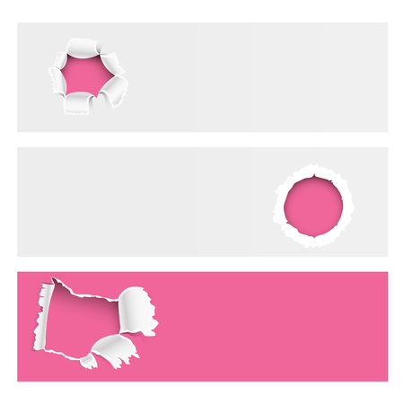 Torn edges hole lacerated ragged paper edge brochure crack realistic 3d style banner vector illustration