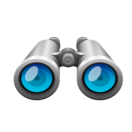 Professional camera lens binocular glass look-see optic device camera digital focus optical equipment vector illustration