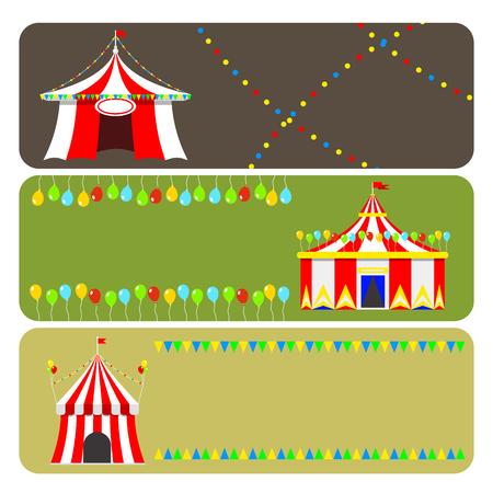 서커스 쇼 엔터테인먼트 텐트 마키 브로셔 카드 야외 축제 줄무늬와 플래그 카니발