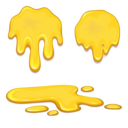オレンジ蜂蜜の滴と黄色のセットはね健康シロップ黄金食品液体点滴ベクトル図です。