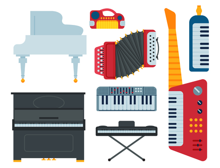 Keyboard musical instruments isolated classical musician piano equipment vector illustration Çizim