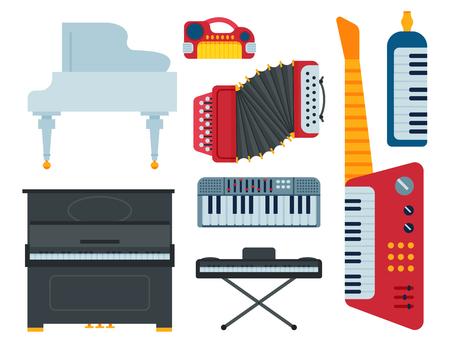 Toetsenbord muzikale instrumenten geïsoleerde klassieke musicus piano apparatuur vectorillustratie Stock Illustratie