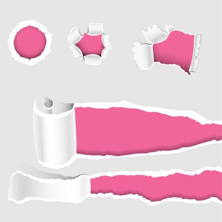 Gescheurde randen gat geslepen ragged papier rand en crack realistische 3D-stijl vector illustratie collectie