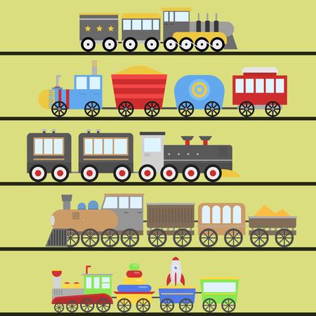 漫画のおもちゃの列車のベクトル鉄道と漫画キャリッジゲーム楽しいレジャー喜びギフト機関車の輸送。