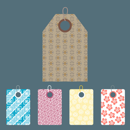 Stylish price clothes tag with pattern clothing price sale card stickers collection paper blank business promotion badge vector illustration. Discount empty shopping frame gift coupon. Stock Vector - 88157241